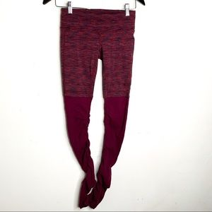 Alo Yoga Goddess Leggings Space Dye Burgundy XS